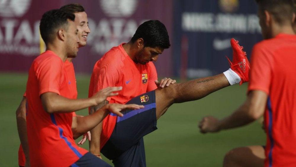 Luis Suárez, durante el primer entrenamiento de la temporada del Barcelona