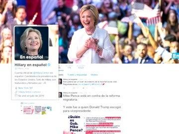 Frame 2.542191 de: Hillary Clinton busca el voto latino abriendo una cuenta en español en Twitter
