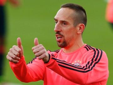 Franck Ribery, durante un entrenamiento con el Bayern