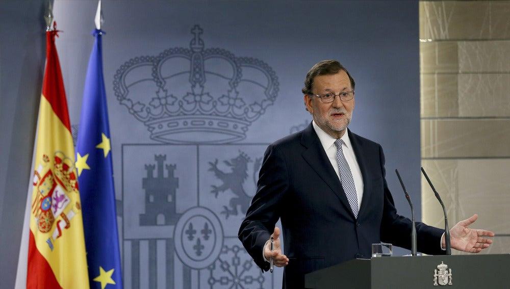 Mariano Rajoy en rueda de prensa en Moncloa