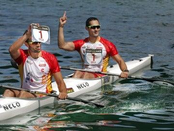 Bouzán y Fiuza  celebran la victoria del año pasado