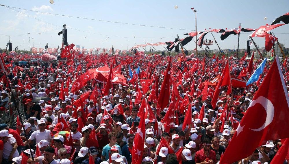 Multitudinaria manifestación en Estambul