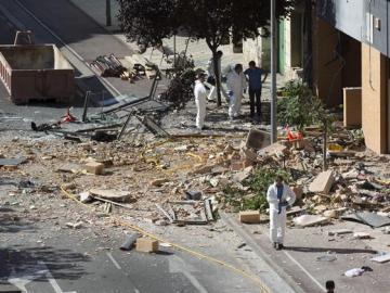 Vista del estado en el que ha quedado la vivienda de Tudela