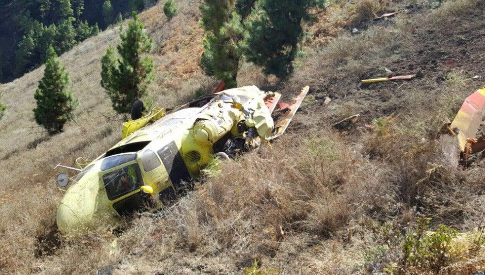 Helicoptero accidentado en La Palma.