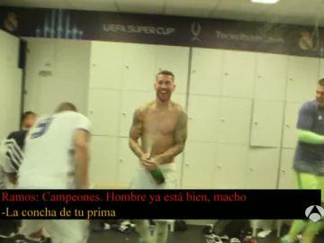 Ramos abre el champán en el vestuario