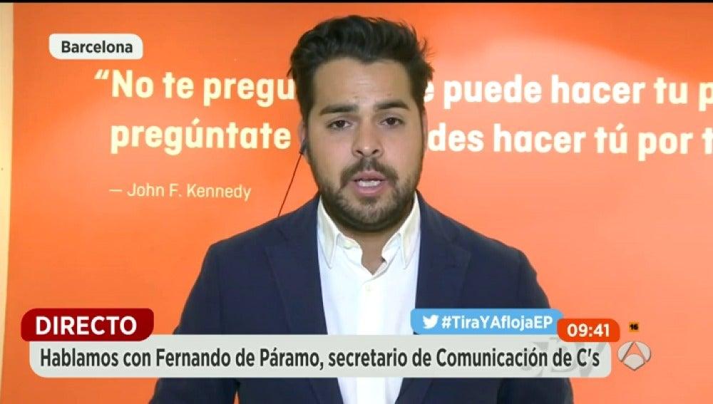 """Frame 288.164566 de: Fernando de Páramo (C's): """"La nueva política consiste en cambiar las cosas y no en mirar desde la barrera, como Podemos"""""""