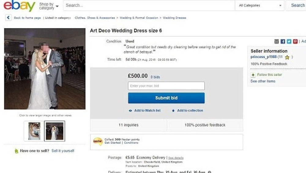 00504e6a2 Una mujer de Reino Unido vende su vestido de novia por eBay para ...
