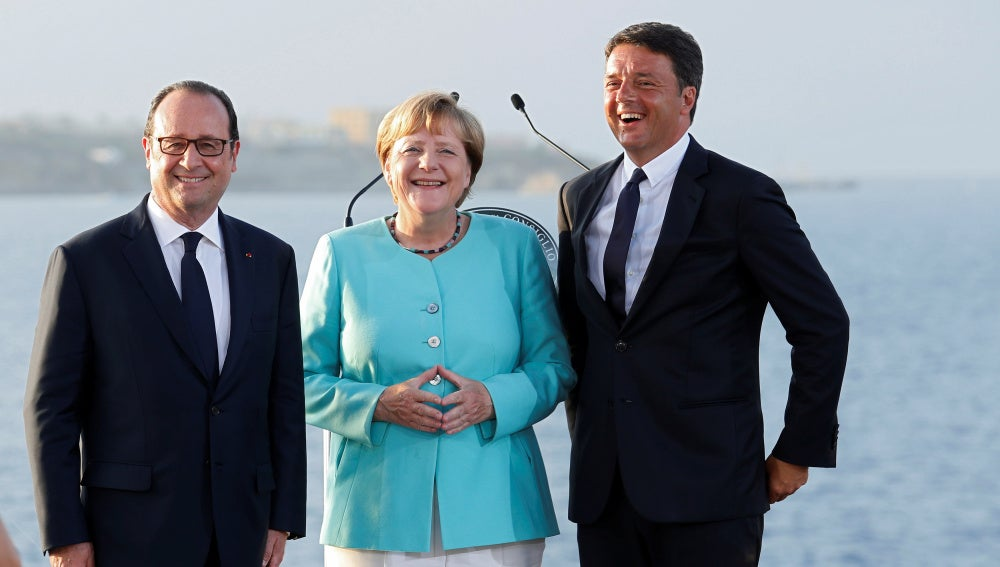 Hollande, Merkel y Renzi