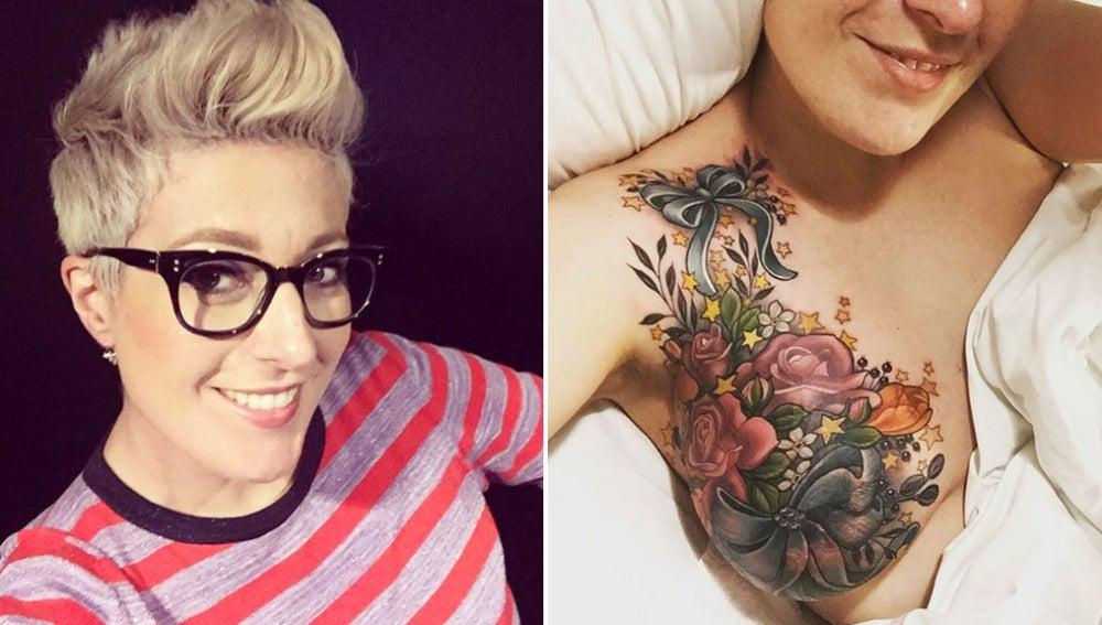 Alison Habbal luce orgullosa su tatuaje en el pecho.