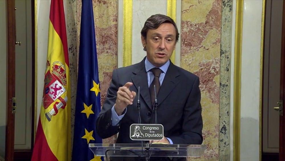 """Frame 65.204175 de: Rafael Hernando: el discurso de Rajoy """"es coherente con nuestros compromisos con los electores"""""""