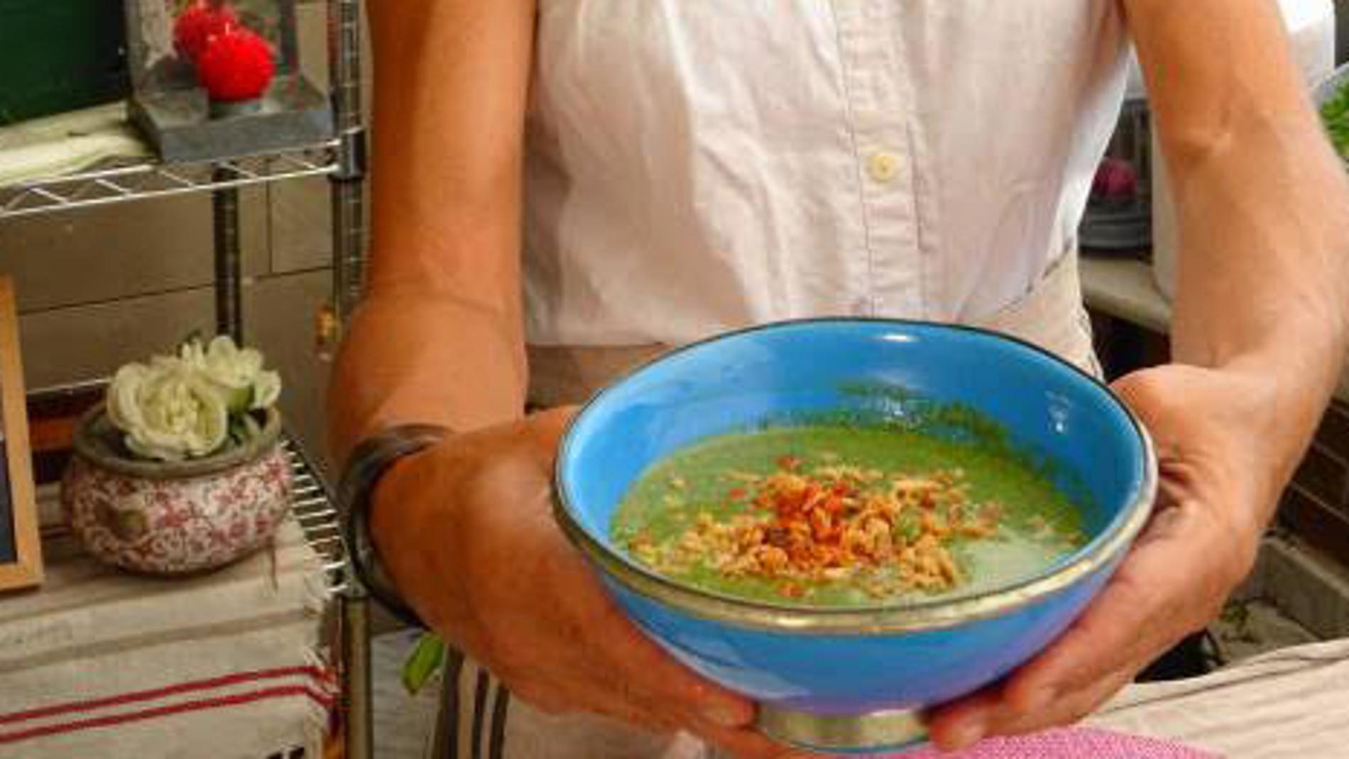 crema verde con quinoa