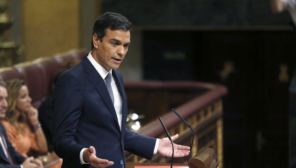 Pedro Sánchez, en el debate de investidura
