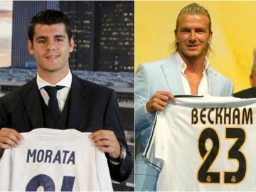 Morata y Beckham en sus presentaciones con el Real Madrid.