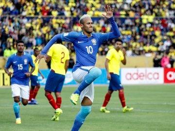 Neymar celebrando el 0-1 ante Ecuador.