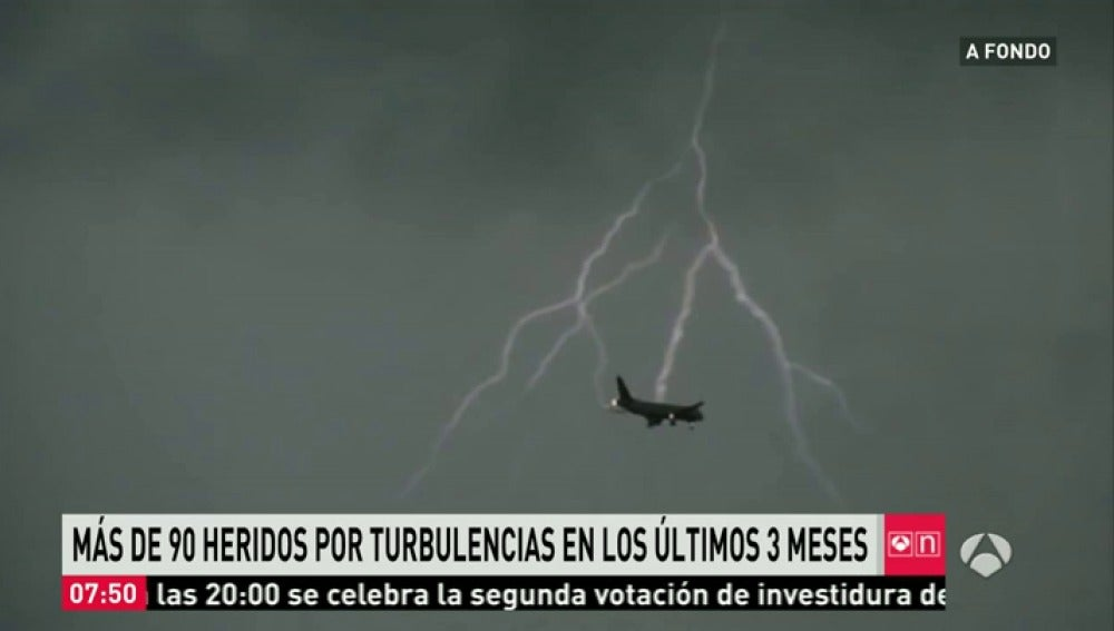 Avión en plenas turbulencias