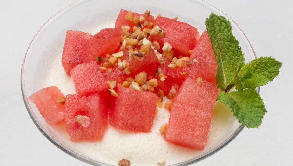 Semifrío de melón y sandía
