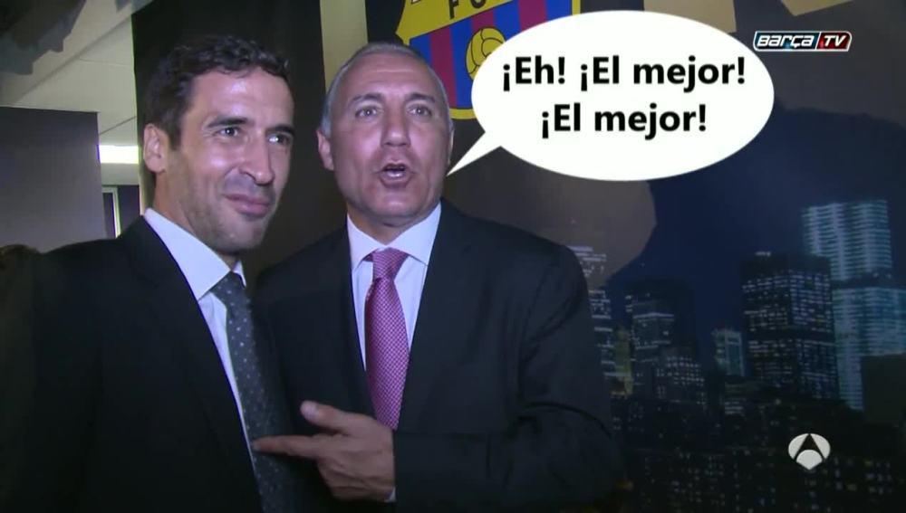Raúl y Stoitchkov, juntos en un acto del Barcelona