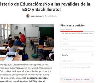 Solicitud: ¡No a las reválidas de la ESO y Bachillerato!