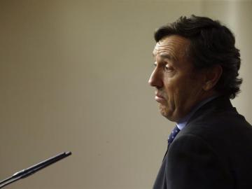Rafael Hernando en una rueda de prensa