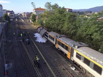 Tren descarrilado en O Porriño