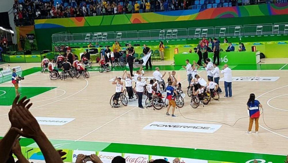 La selección española de baloncesto en silla de ruedas tras un partido en Río 2016