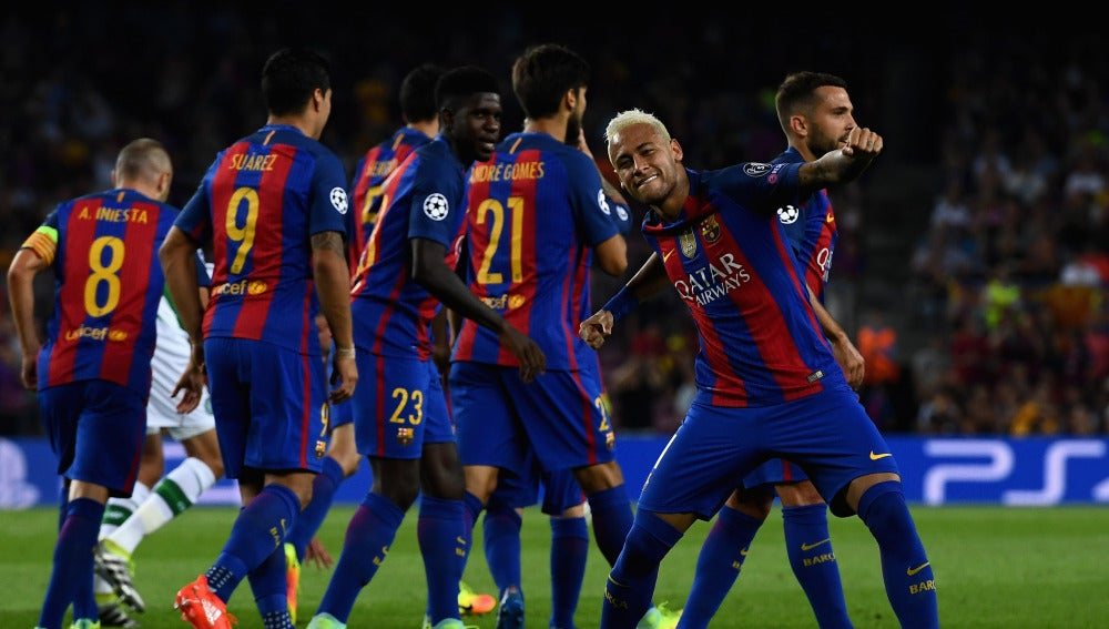 Neymar celebra su gol ante el Celtic
