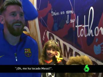 El asombro de una niña al conocer a Messi