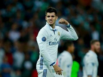 Morata celebrando su épico gol ante el Sporting de Portugal.
