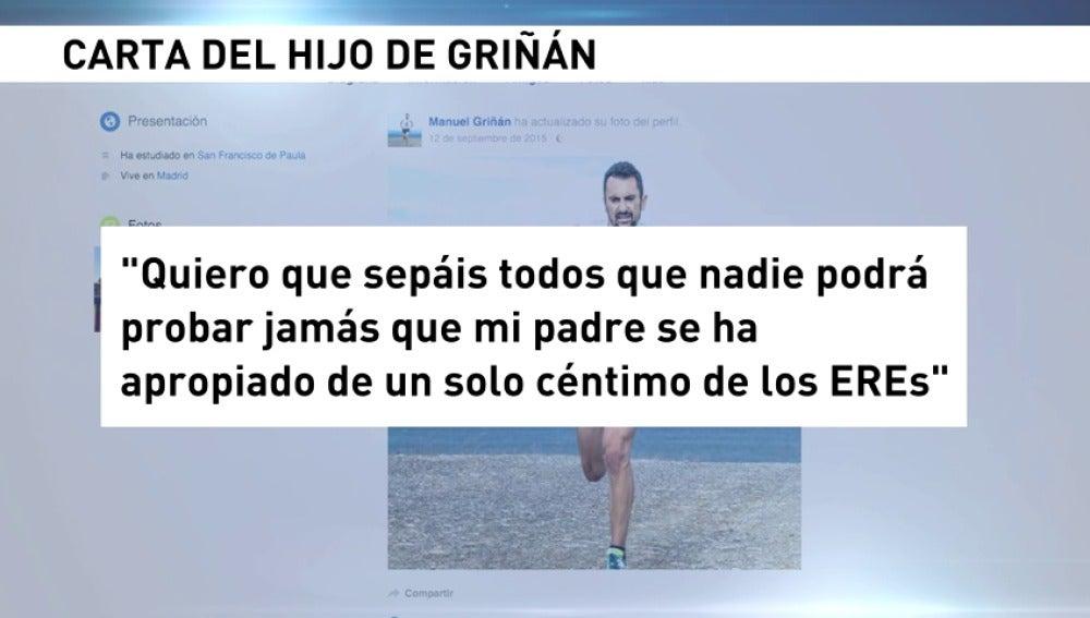 """Frame 3.544799 de: El hijo de Griñán defiende la """"honestidad"""" de su padre y dice que """"la peor de las pesadillas vino a destrozar"""" la vida de su familia"""