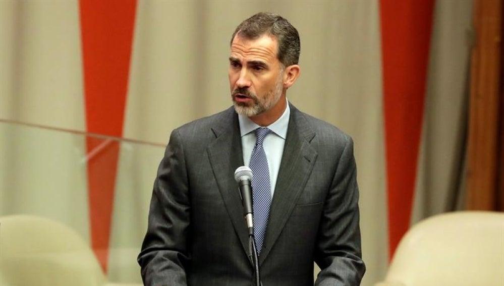 El Rey Felipe VI durante su discurso en la ONU