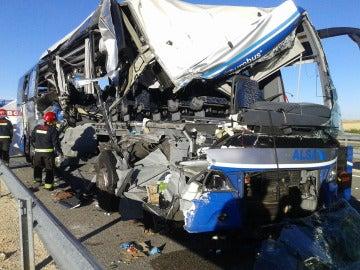 Autobús accidentado en Soria