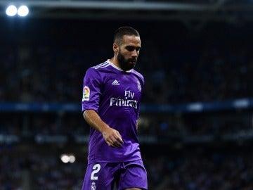 Carvajal abandonando el Espanyol-Real Madrid.