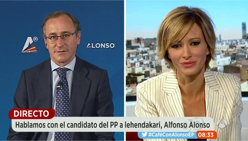 Alfonso Alonso, durante una entrevista en Espejo Público