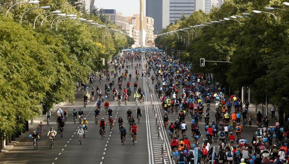 Madrid acoge la 38 edición de la Fiesta de la Bicicleta con un circuito de 14 kilómetros entre Atocha y el número 257 del paseo de la Castellana.