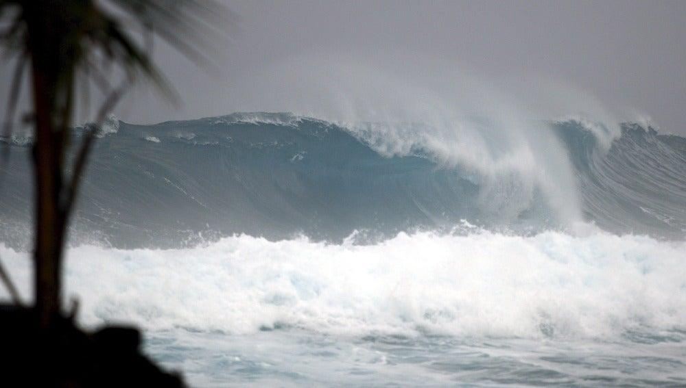 Una fuerte ola en el mar en mitad de un huracán