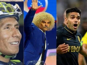 Nairo Quintana, Carlos Valderrama y Radamel Falcao