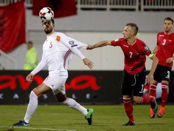 Gerard Piqué, durante el partido contra Albania