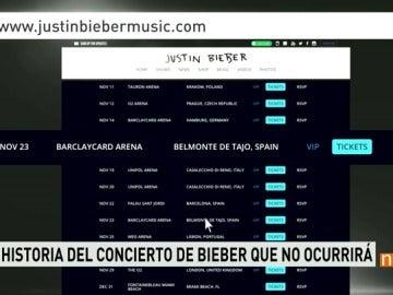 Página web oficial de entradas para conciertos de Justin Bieber