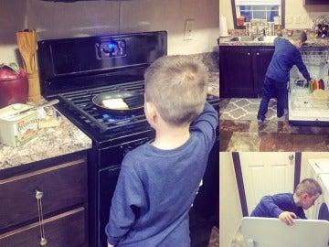 Lyle haciendo tareas domésticas