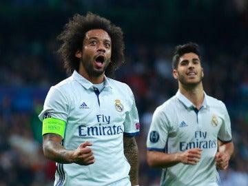 Marcelo celebra el segundo gol de Real Madrid