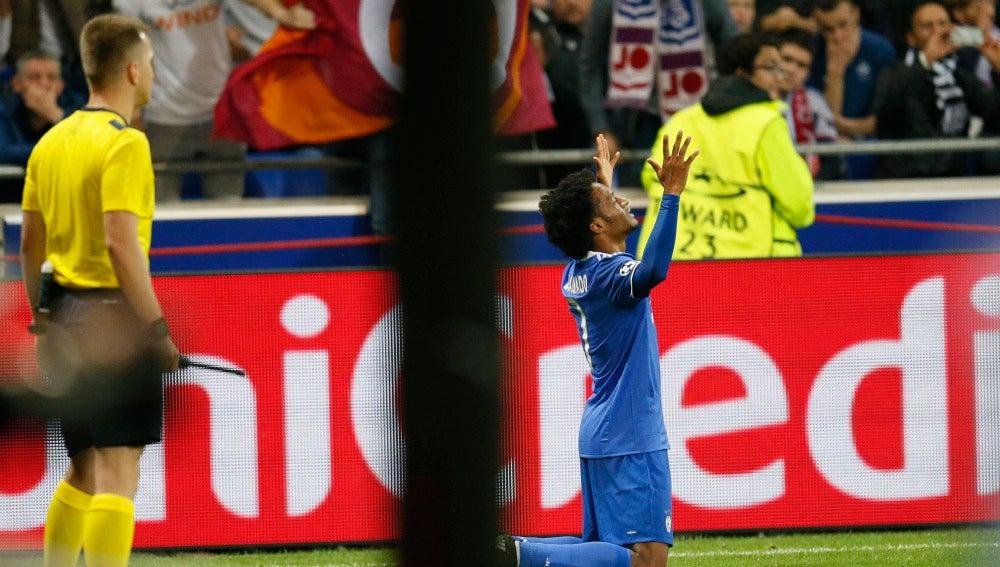 Cuadrado celebra su gol contra el Lyon