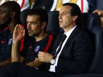 Unai Emery, en el banquillo del Paris Saint-Germain