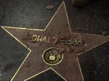 Daños de la estrella de Donald Trump en el Paseo de la Fama de Hollywood