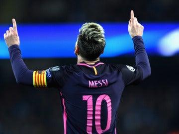 Leo Messi celebra su gol al City
