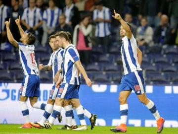 El Oporto celebra su gol ante el Brujas