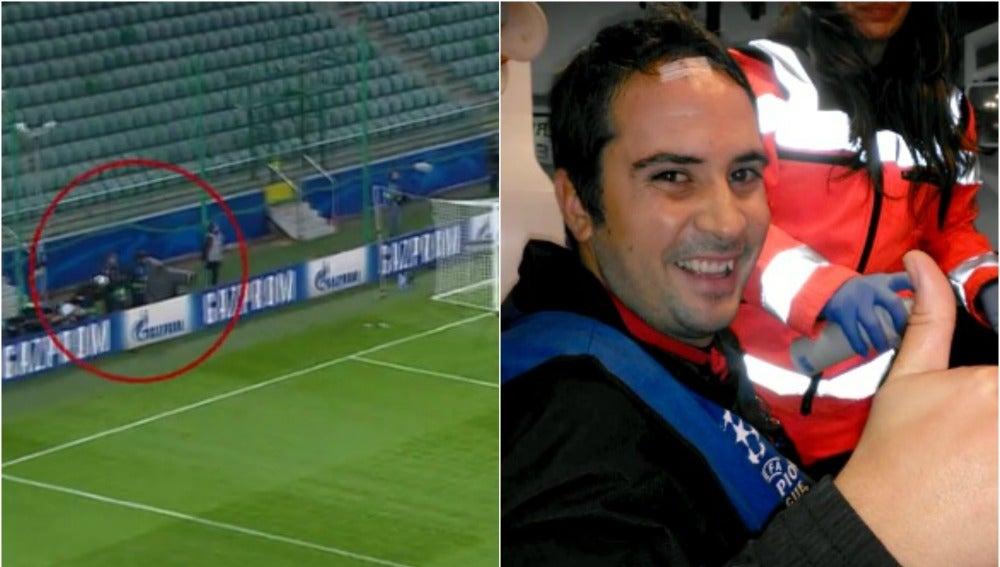 Matías Verdejo, cámara de Antena, recibe un balonazo