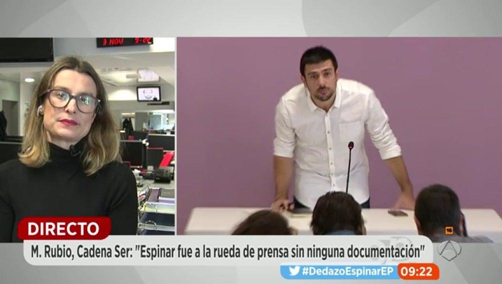 """Frame 1064.292361 de: Mariela Rubio, la periodista que destapó la información del piso de Ramón Espinar: """"No aportó ningún documento y deja incógnitas sin resolver"""""""