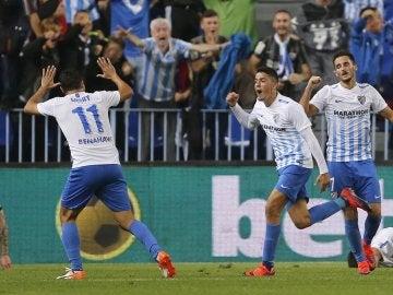 Pablo Fornals celebra un gol ante el Sporting