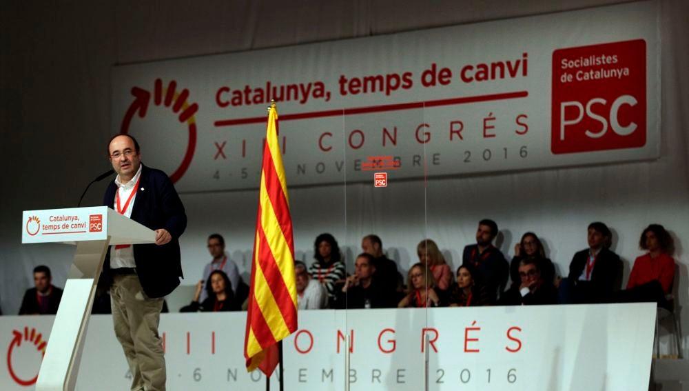 Iceta durante la primera jornada del congreso de los socialistas catalanes