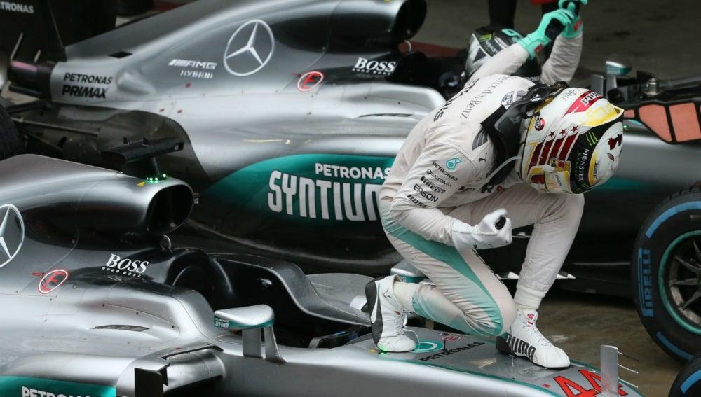 Hamilton celebra la victoria en Brasil
